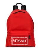 Versace Men's Logo-Stamped Nylon Backpack