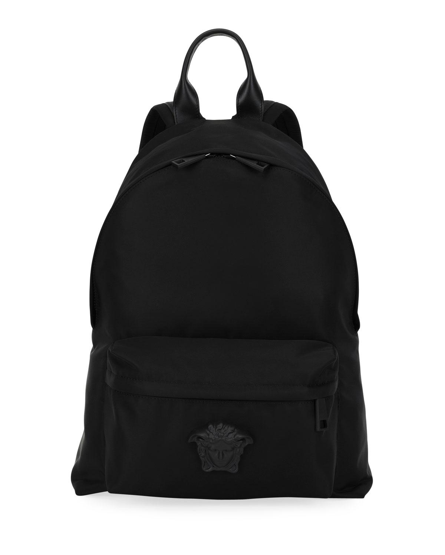 VERSACE Men'S Nylon Backpack W/ Medusa Head Detail in Black