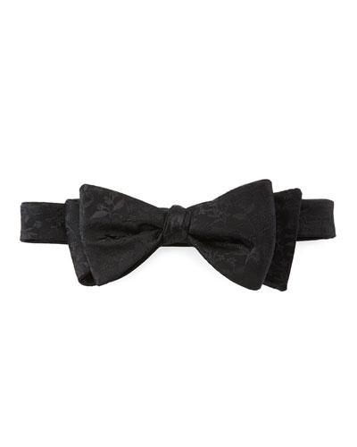 Pre-Tied Floral-Pattern Silk Bow Tie