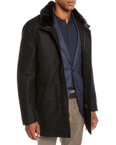 Men's Car Coat with Fur Collar