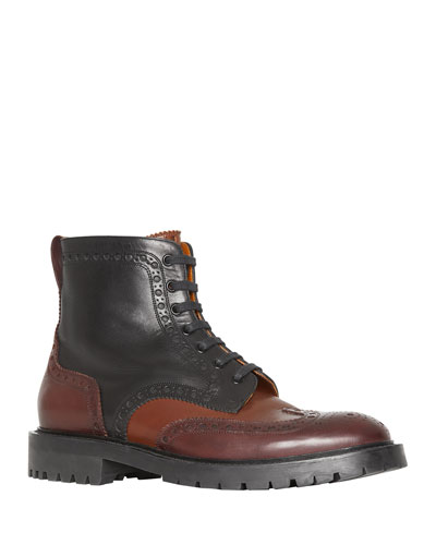 Men's Barkeston Brogue Leather Boots