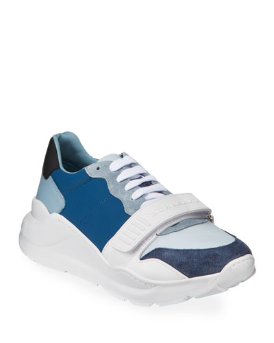 Men's Regis Neoprene Low-Top Sneakers w/ Exaggerated Sole, Blue