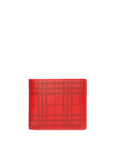 4684c6c00f9d Quick Look. Burberry · Men's Perforated Check Bi-Fold Leather Wallet.  Available in Red