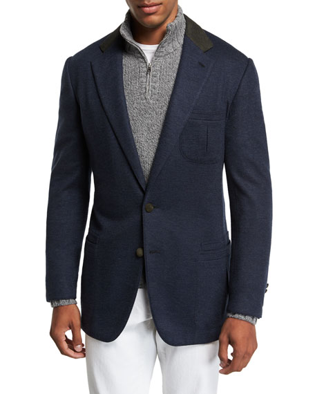 Stefano Ricci Men's Two-Button Cashmere Sportcoat with Suede Collar and Button Detail