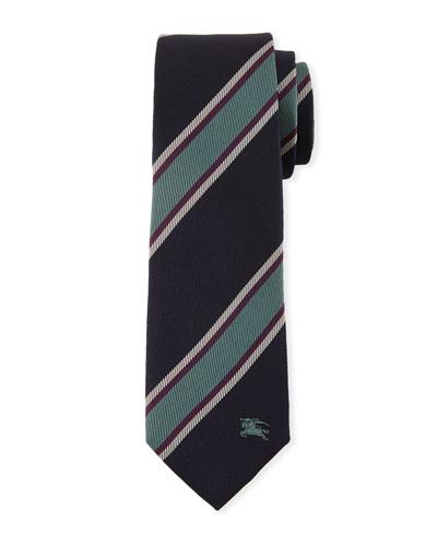 Slim-Cut Jacquard-Woven Striped Silk Tie