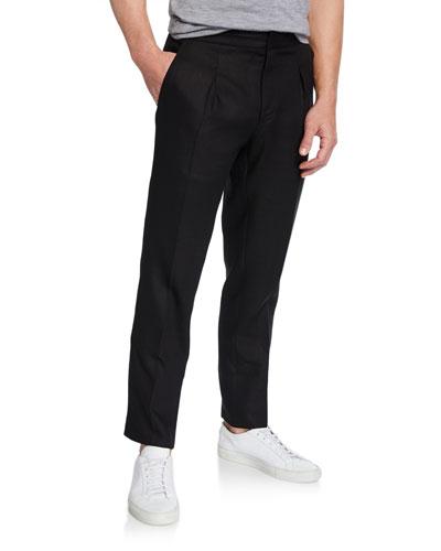 Men's RLX Relaxed Drawstring Linen Trousers, Black