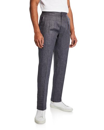 Men's Relaxed Drawstring Linen Trousers
