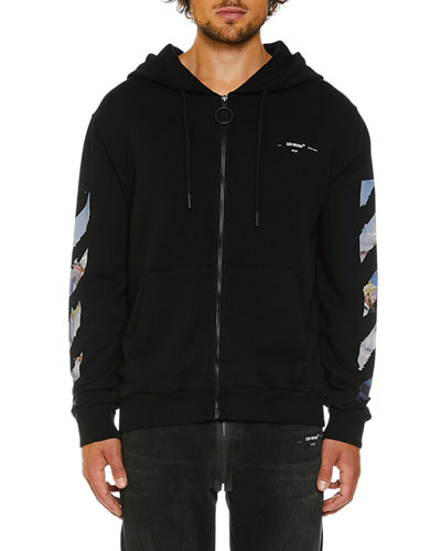 Men's Colored Diagonal-Arrows Zip-Front Hoodie