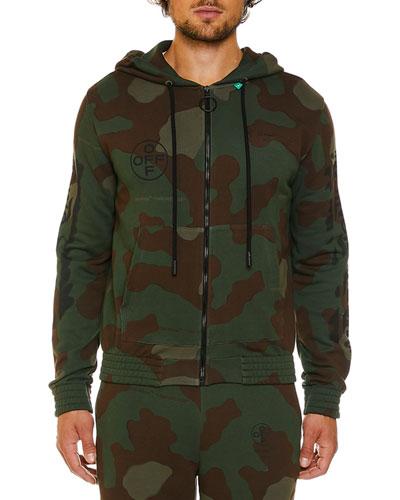 Men's Camo Diagonal-Arrows Zip-Front Hoodie