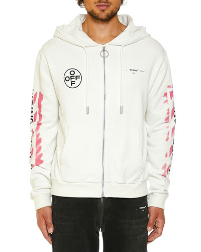 Men's Stencil Diagonal-Arrows Zip-Front Hoodie