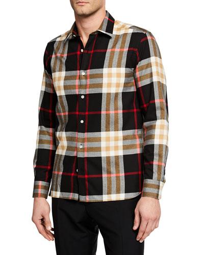 Men's Richard Check Long-Sleeve Sport Shirt