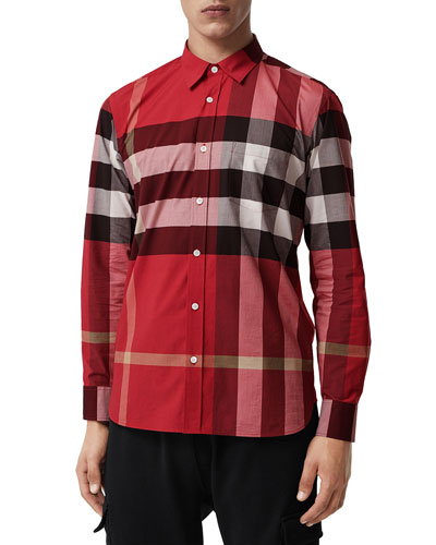 Men's Windsor Check Sport Shirt, Red