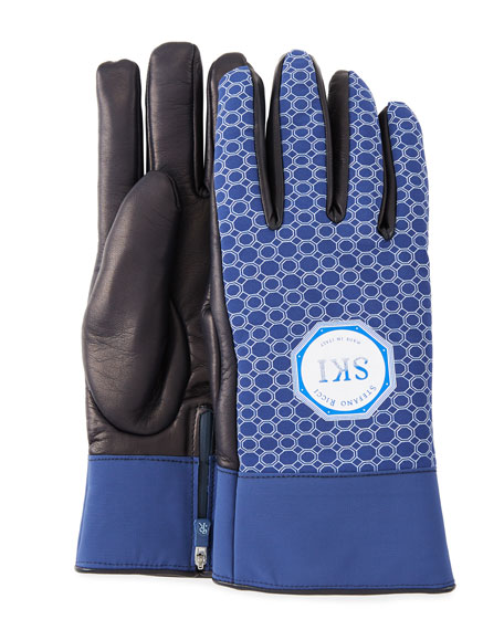 Stefano Ricci Men's Geometric-Print Lambskin Gloves
