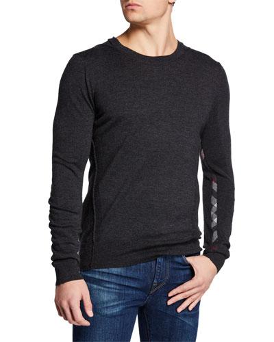 Men's Carter Check-Trim Wool Sweater, Charcoal