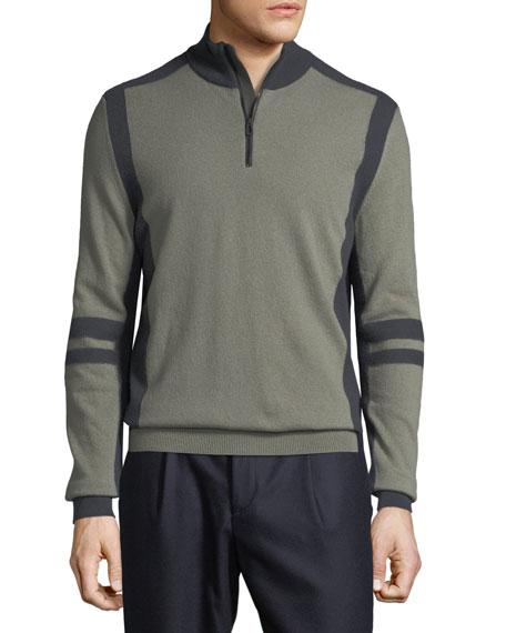 Stefano Ricci Men's Contrast-Trim Mock-Neck Cashmere Sweater