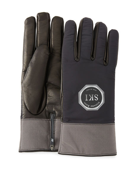 Stefano Ricci Men's Logo-Embossed Two-Tone Lambskin Gloves