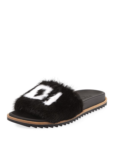 25cb2445d98 Quick Look. Fendi · Men s Fendi Mania Logo-Print Mink Fur Slide Sandals