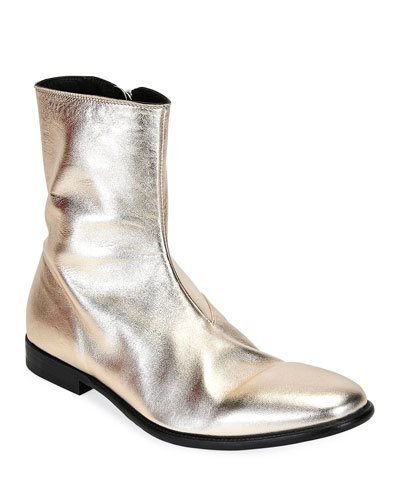 Men's Dream Metallic Leather Ankle Boots