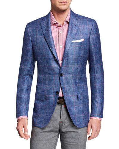 Men's Cashmere/Linen Plaid Sport Coat