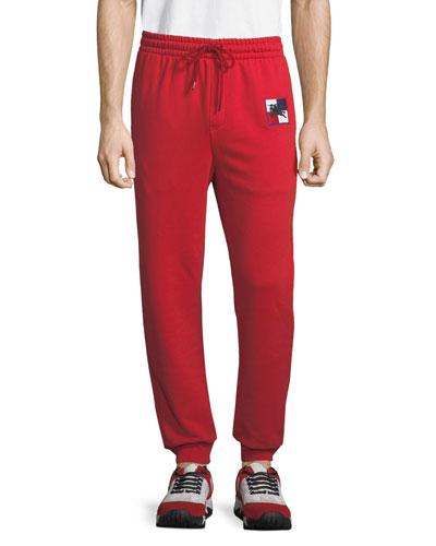 Men's Munley Check-Patch Sweatpants