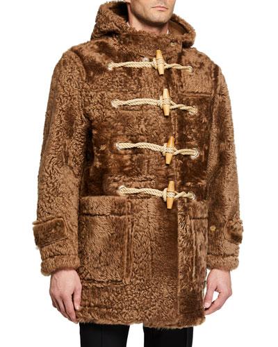 Men's Horsham Shearling Fur Teddy Toggle Coat