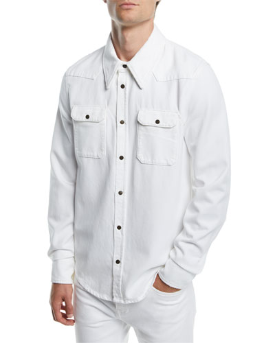 b65687366836c2 Quick Look. CALVIN KLEIN 205W39NYC · Men's Solid Denim Snap-Front Shirt