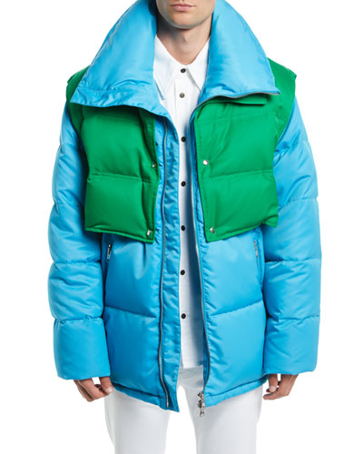 Men's Puffer Coat with Removable Vest
