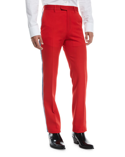 Men's Two-Tone Side-Stripe Wool Pants