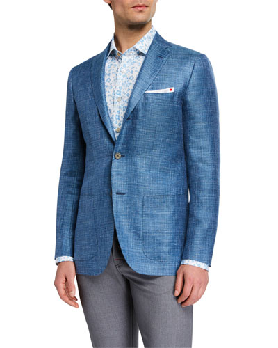 Men's Textured Cashmere Three-Button Jacket