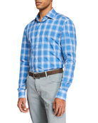 Kiton Men's Large Plaid Sport Shirt