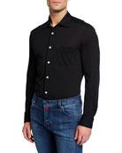 Kiton Men's Pique Pocket Sport Shirt, Black