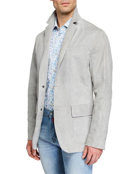 Kiton Men's Suede Three-Button Blazer