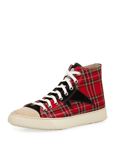 Men's Plaid Strummer High-Top Sneakers
