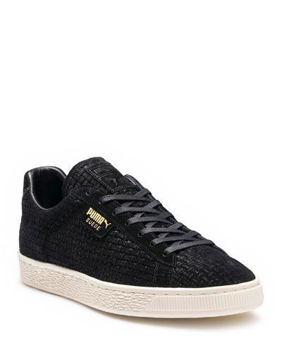 Men's Woven-Textured Suede Low-Top Sneakers