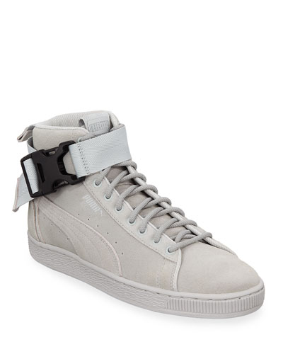 Men's Suede Mid-Top Sneakers w/ Ankle Strap
