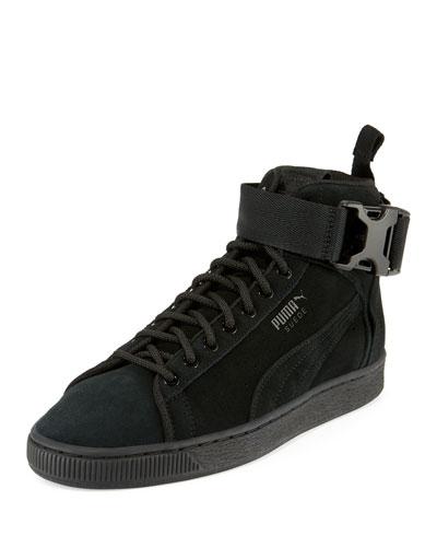 Men's Suede Mid-Top Buckle Sneakers