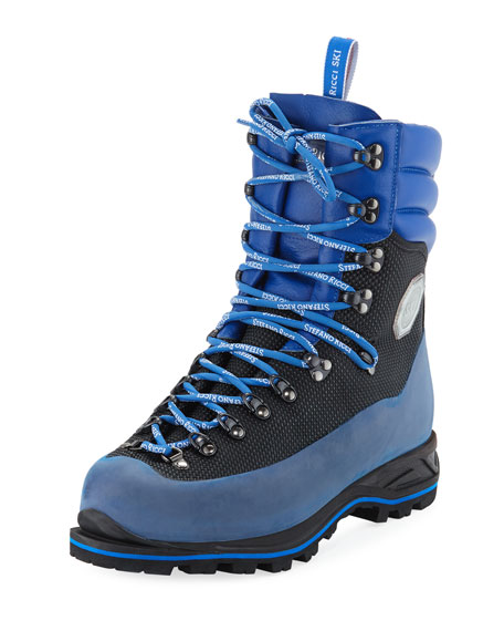 Stefano Ricci Men's Leather Mountain Hiking Boots, Blue