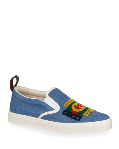 Men's Denim Slip-On Sneakers With Gucci Patch