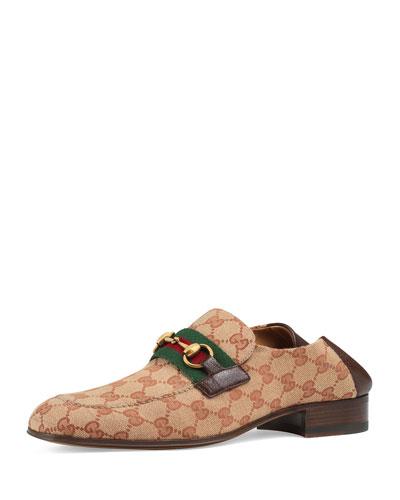 Men's GG Canvas Horsebit Fold-Down Loafers