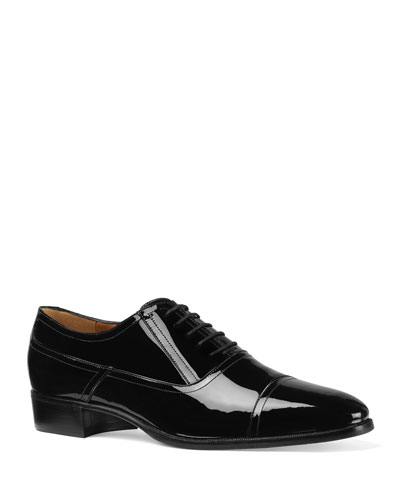 Men's Patent Leather Lace-Up Shoes