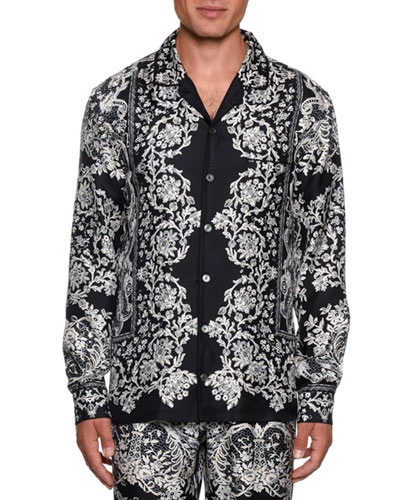 Men's Lace Print Silk Pajama Top