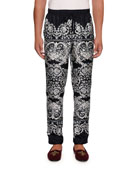 Dolce & Gabbana Men's Lace Print Silk Pajama