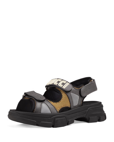 Men's Leather and Mesh Sandals with Chunky Heel