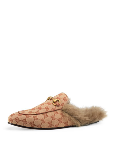 Men's Princetown Fur-Lined GG Canvas Slippers