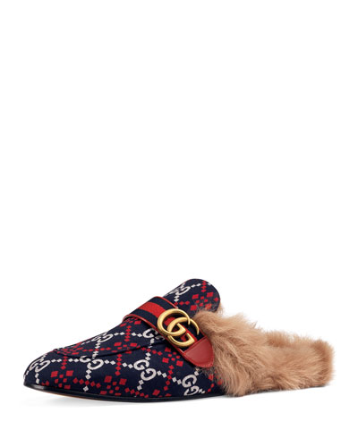 Men's Princetown Diamond Jacquard Slippers with Double G