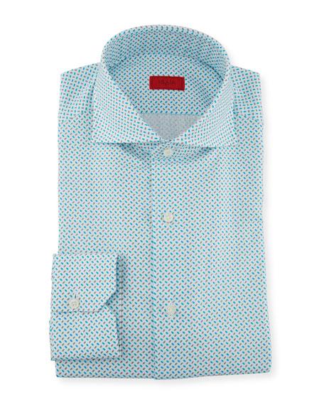 Isaia Men's Aqua Print Dress Shirt