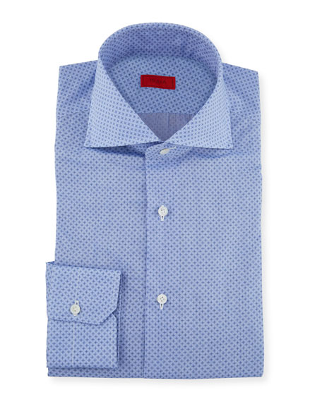 Isaia Men's Chambray Print Dress Shirt