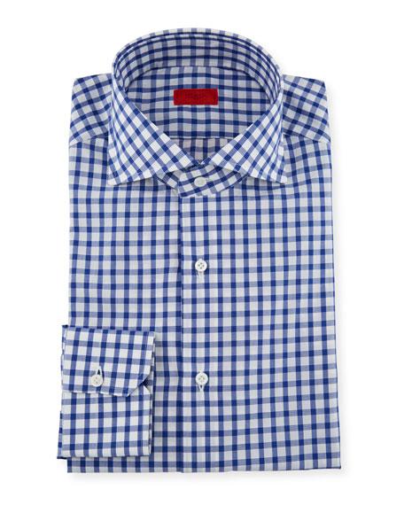 Isaia Men's Bold Check Dress Shirt