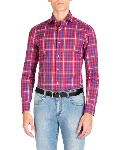 Men's Long-Sleeve Gingham Sport Shirt