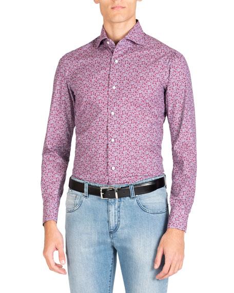 Isaia Men's Long Sleeve Denim Floral Print Sport Shirt